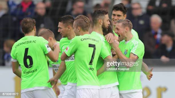 Bjoern Kluft of Chmenitz celebrates the first goal with his team mates during the 3 Liga match between SV Meppen and Chemnitzer FC at Haensch Arena...
