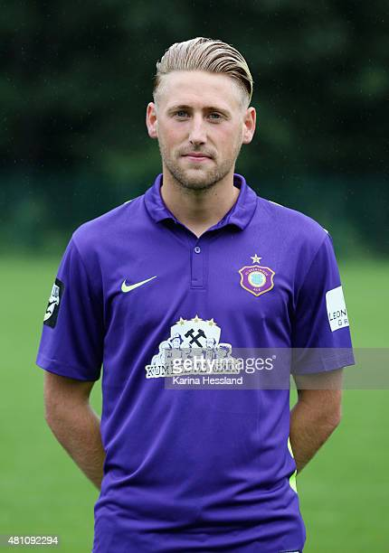 Bjoern Kluft poses during the official team presentation of Erzgebirge Aue at ground 2 on July 14 2015 in Aue Germany