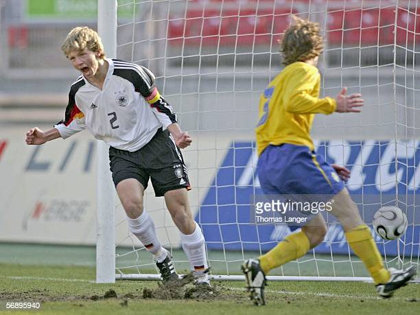 Bjoern Kopplin of Germany celebrates his goal during the men's under 17 international friendly match between Germany and Sweden on February 21 2006...