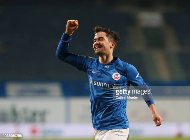 Bjoern Rother of Hansa Rostock celebrates after scoring during the 3. Liga match between Hansa Rostock and 1. FC Saarbrücken at Ostseestadion on...