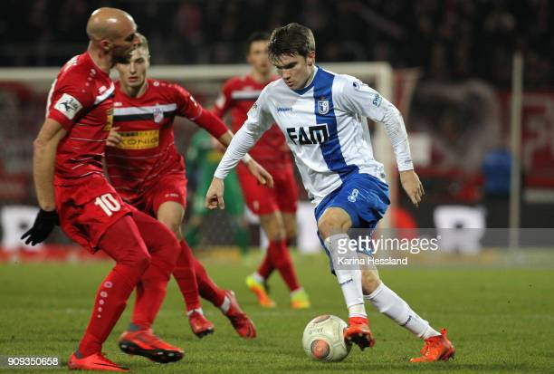 Bjoern Rother of Magdeburg on the ball during the 3Liga match between FC Rot Weiss Erfurt and 1FC Magdeburg at Arena Erfurt on January 22 2018 in...