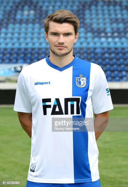 Bjoern Rother poses during the team presentation of 1 FC Magdeburg at MDCCArena on July 13 2017 in Magdeburg Germany