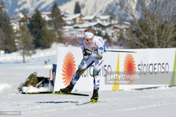 Bjoern Sandstroem of Sweden during the Men's Cross Country Skiathlon at the FIS Nordic World Ski Championships at Langlauf Arena Seefeld on February...