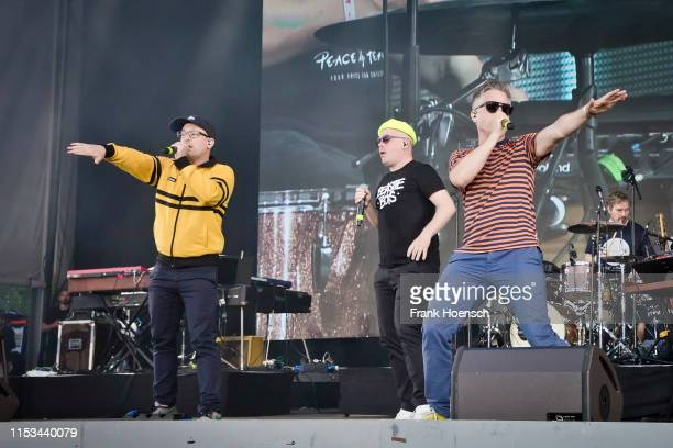 Bjoern Warns aka Bjoern Beton Boris Lauterbach aka Koenig Boris and Martin Vandreier aka Dokter Renz of the German band Fettes Brot perform live on...