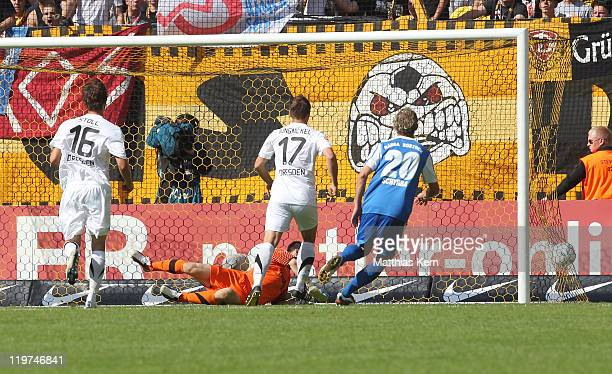 Bjoern Ziegenbein scores the first goal during the Second Bundesliga match between SG Dynamo Dresden and FC Hansa Rostock at Gluecksgas-Stadion on...