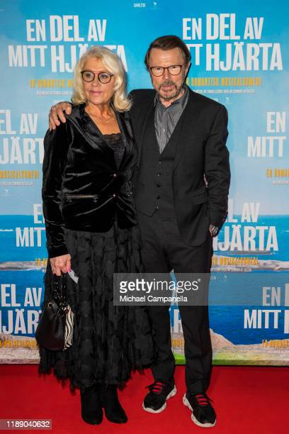 Bjöon Ulvaeus and wife Lena Kallersjo pose for a picture on the red carpet during the premiere for A Piece Of My Heart at the Rigoletto cinema on...