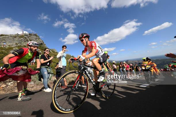 Bjorg Lambrecht of Belgium and Team Lotto Soudal / Alto de la Camperona / Fans / Public / during the 73rd Tour of Spain 2018 Stage 13 a 1748km stage...