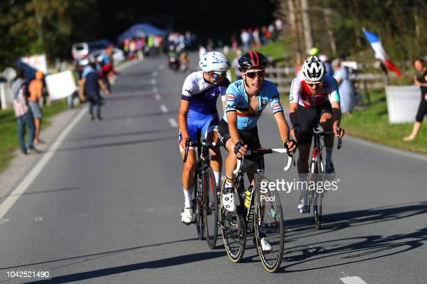 Bjorg Lambrecht of Belgium / Jaakko Hanninen of Finland / Marc Hirschi of Switzerland / during the Men Under 23 Road Race a 179,9km race from...