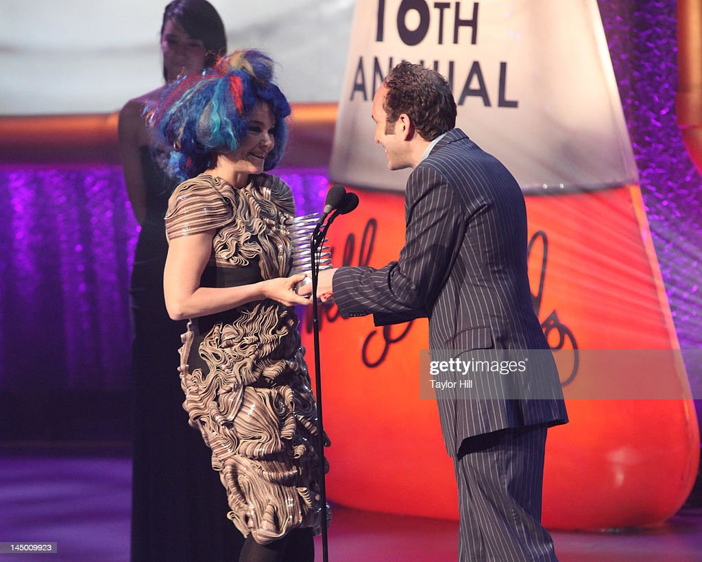 Bjork accepts the 'Artist of the Year' Webby from Biophilia co-creator Scott Snibbe at the 16th Annual Webby Awards at Hammerstein Ballroom on May 21, 2012 in New York City.