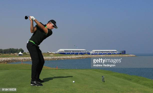 Bjork Alexander of Sweden tees off on the par four 18th hole during the first round of the NBO Oman Open at Al Mouj Golf on February 15 2018 in...