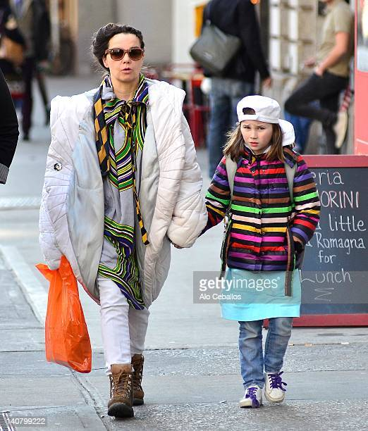 Bjork and daughter Isadora Barney are seen in soho on March 6 2012 in New York City