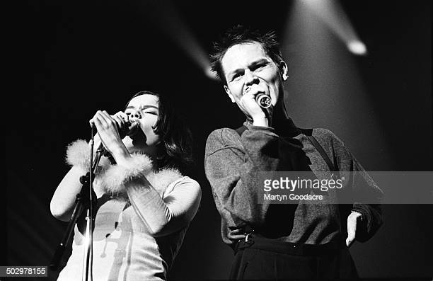 Bjork and Einar Orn Benediktsson of The Sugarcubes perform on stage in Paris France 1990