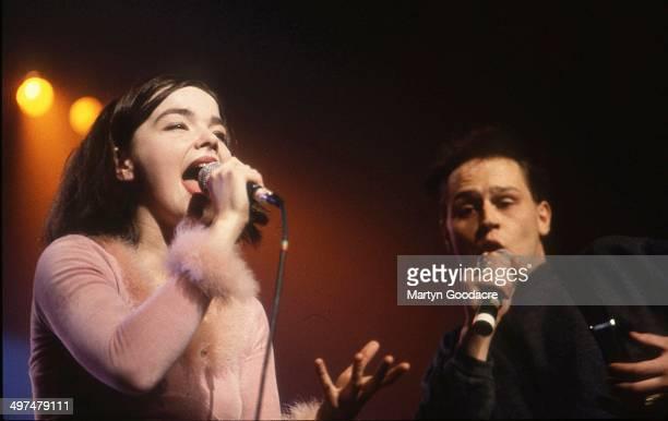 Bjork and Einar Orn Benediktsson perform on stage with The Sugarcubes Paris France 1990