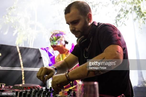 Bjork and Rabit onstage DJing during Art Basel Miami Beach 2017 at Mana Wynwood on December 5 2017 in Miami Florida