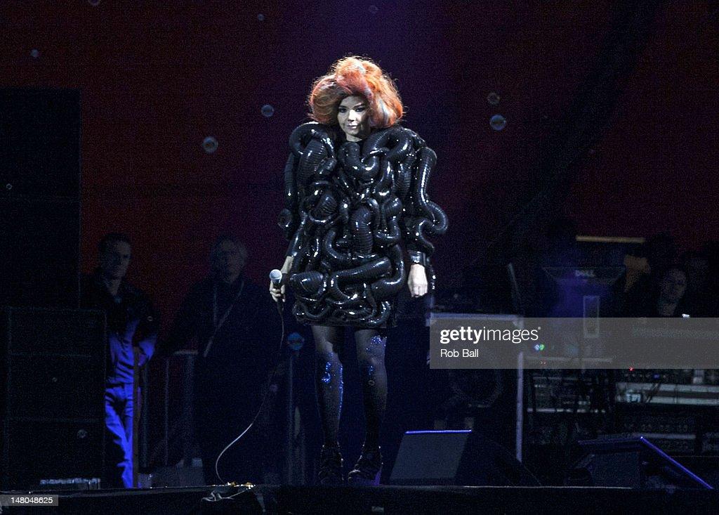 Bjork headlines the Orange Stage on day four of Roskilde Festival on July 8, 2012 in Roskilde, Denmark.