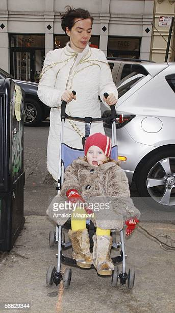 Bjork is seen with her daughter Isadora while walking through Downtown Manhattan on February 11 2006 in New York City