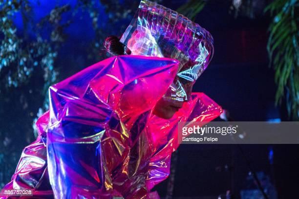 Bjork onstage DJing during Art Basel Miami Beach 2017 at Mana Wynwood on December 5 2017 in Miami Florida