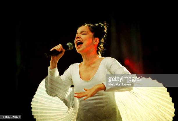 Bjork, performing on stage, London, United Kingdom, 14th July 1997.