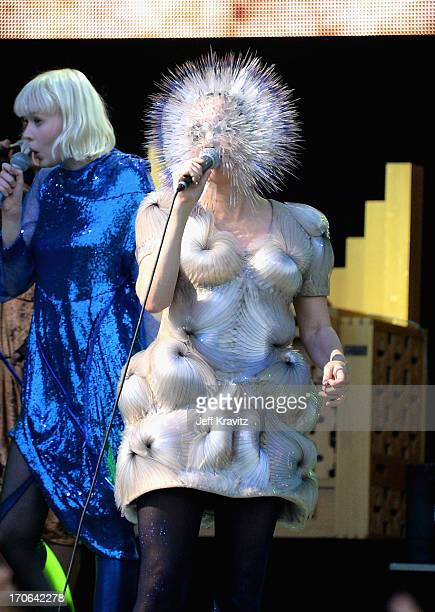 Bjork performs at What Stage during day 3 of the 2013 Bonnaroo Music Arts Festival on June 15 2013 in Manchester Tennessee