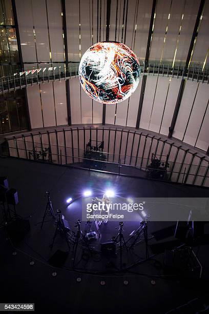 Bjork performs during the 'Making of Bjork Digital' at the National Museum of Emerging Science on June 28, 2016 in Tokyo, Japan. In the event Bjork...