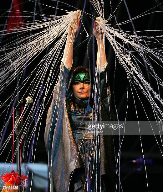 Bjork performs on stage during the 2008 Big Day Out at the Claremont Showgrounds on February 3 2008 in Perth Australia