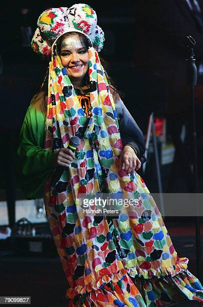 Bjork performs on stage during the Big Day Out at Mt Smart Stadium on January 18 2008 in Auckland New Zealand