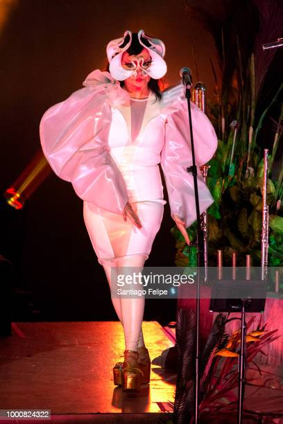 Katie Buckley performs with Bjork onstage at Finlandia Hall on July 17 2018 in Helsinki Finland