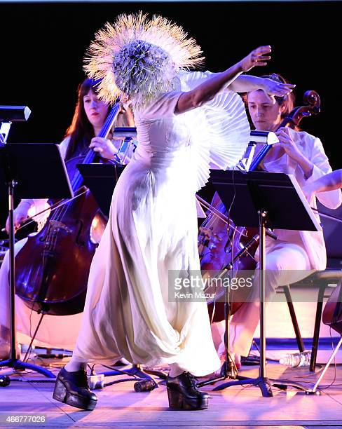 Bjork performs onstage during her 'Vulnicura' tour at Kings Theatre on March 18 2015 in New York City