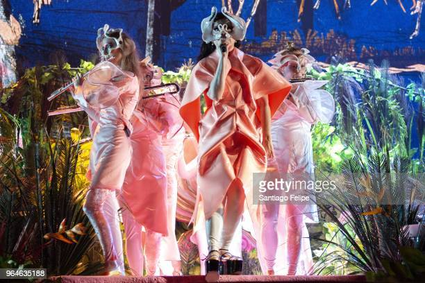 Bjork performs onstage during Primavera Sound 2018 at Parc Del Forum on May 31 2018 in Barcelona Spain