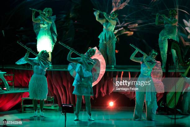 Bjork's Utopian flute septet perform onstage during her Cornucopia concert series at The Shed on May 28 2019 in New York City