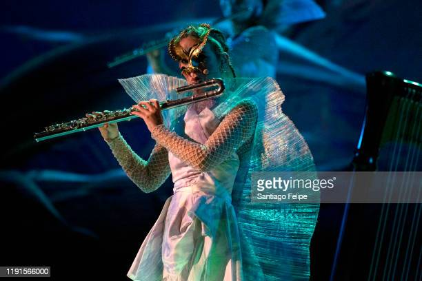 "Bjork's Utopian flute septet performs onstage during her ""Cornucopia"" tour at Oslo Spektrum on December 02, 2019 in Oslo, Norway."