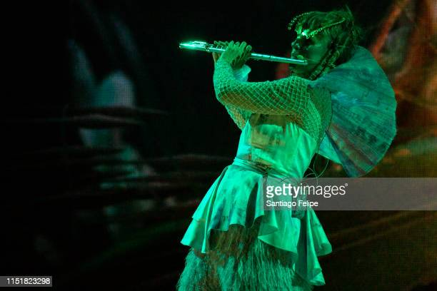 Bjork's Utopian flute septet performs with her onstage during 'Cornucopia' concert series at The Shed on May 25 2019 in New York City