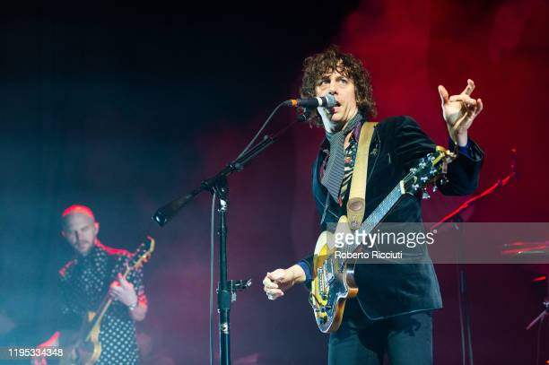 Bjorn Agren and Johnny Borrell of Razorlight perform on stage at Usher Hall on January 22, 2020 in Edinburgh, Scotland.