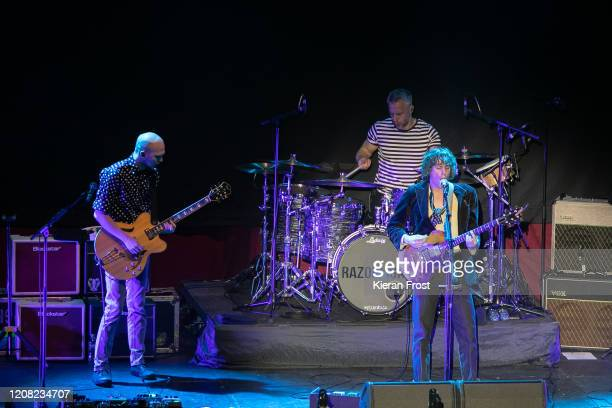 Bjorn Agren, Mat Hector and Johnny Borrell of Razorlight perform at 3Arena Dublin on February 23, 2020 in Dublin, Dublin.