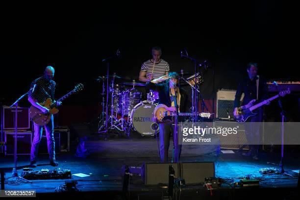 Bjorn Agren Mat Hector Johnny Borrell and Ben Ellis of Razorlight perform at 3Arena Dublin on February 23 2020 in Dublin Dublin