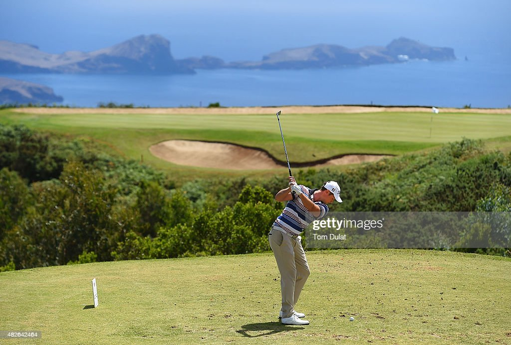 Bjorn Akesson of Sweden tees off from the 4th hole during day three of the Madeira Islands Open - Portugal - BPI at Club de Golf do Santo da Serra on August 1, 2015 in Funchal, Madeira, Portugal.