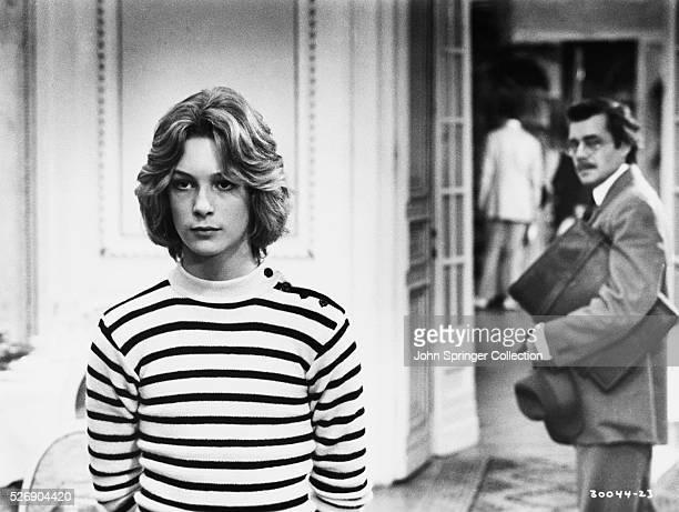 Bjorn Anderson as Tadzio and Dirk Bogarde as composer Gustav von Aschenbach in the 1971 film adaptation of the Thomas Mann novel Death in Venice