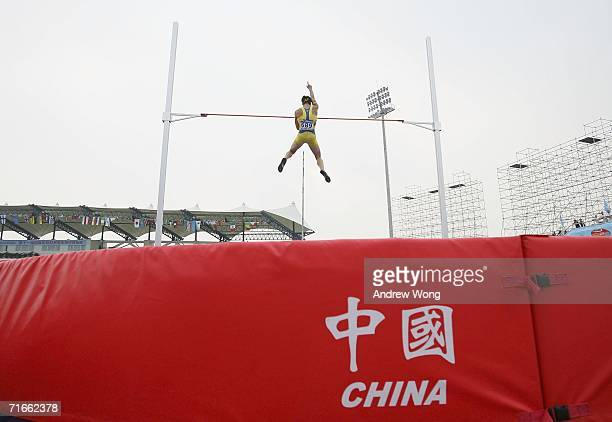 Bjorn Barrefors of Sweden clears the bar during the pole vault of the men's decathlon at the 11th IAAF World Junior Athletics Championships on August...