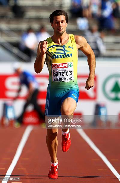 Bjorn Barrefors of Sweden competes in the 100 Metres during the Men's Decathlon during day one of the 21st European Athletics Championships at the...