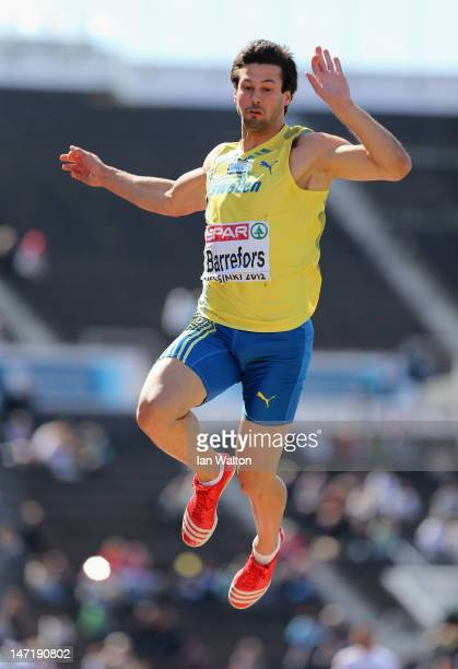 Bjorn Barrefors of Sweden competes in the Long Jump during the Men's Decathlon during day one of the 21st European Athletics Championships at the...