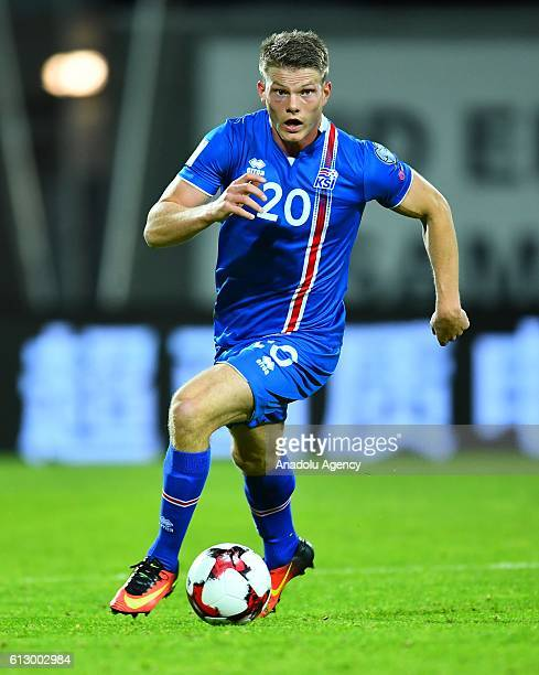 Bjorn Bergmann Siguroarson of Iceland in action during UEFA 2018 World Cup Qualifying Group I match between Iceland and Finland at Laugardalsvöllur...