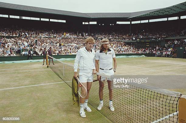 Bjorn Bjorg of Sweden and Roscoe Tanner of the United States before their Men's Singles Final match of the Wimbledon Lawn Tennis Championship on 7...