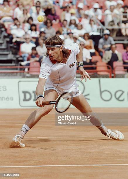 Bjorn Bjorg of Sweden returns against Ivan Lendl during the Men's Singles Final match at the French Open Tennis Championship on 7 June 1981 at the...