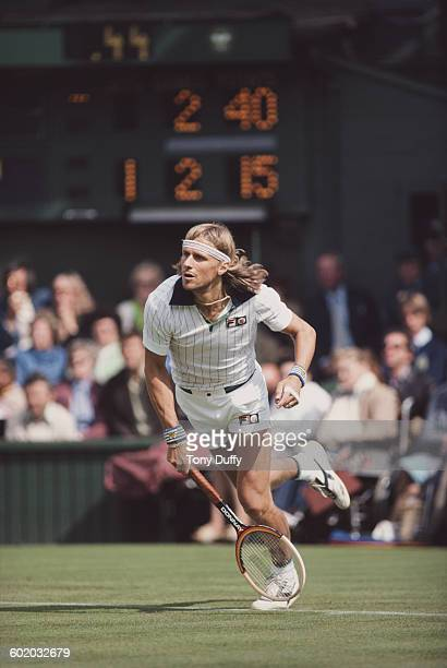 Bjorn Bjorg of Sweden returns against Roscoe Tanner during their Men's Singles Final match of the Wimbledon Lawn Tennis Championship on 7 July 1979...