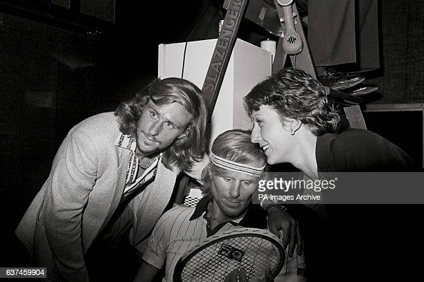 Bjorn Borg and his fiancee Mariana Simionescu admire Borg's waxwork at Madame Tussauds
