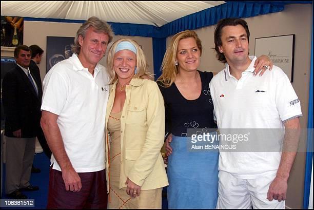 Bjorn Borg and his future wife Patricia with Henri Leconte and Alexandra in Monaco on April 17 2002