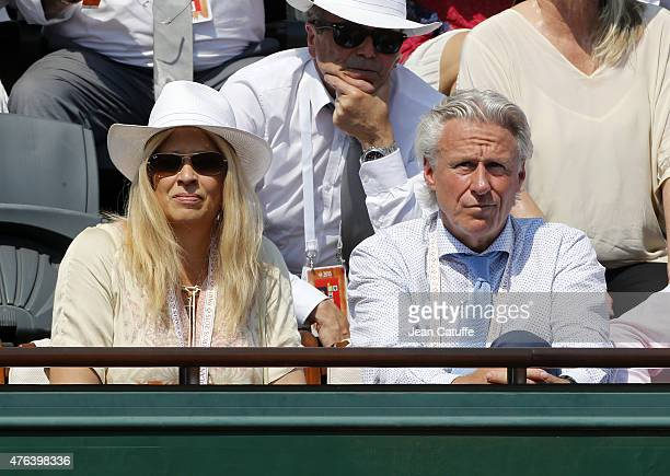 Bjorn Borg and his wife Patricia Ostfeldt attend day 13 of the French Open 2015 at Roland Garros stadium on June 5 2015 in Paris France