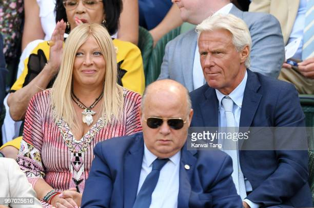 Bjorn Borg and his wife Patricia Ostfeldt attend day ten of the Wimbledon Tennis Championships at the All England Lawn Tennis and Croquet Club on...