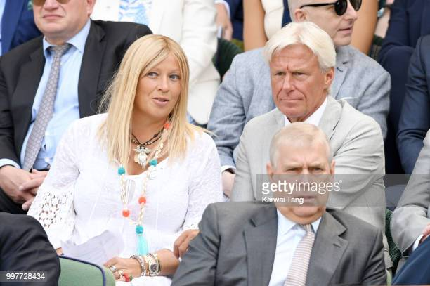 Bjorn Borg and his wife Patricia Ostfeldt attends day eleven of the Wimbledon Tennis Championships at the All England Lawn Tennis and Croquet Club on...
