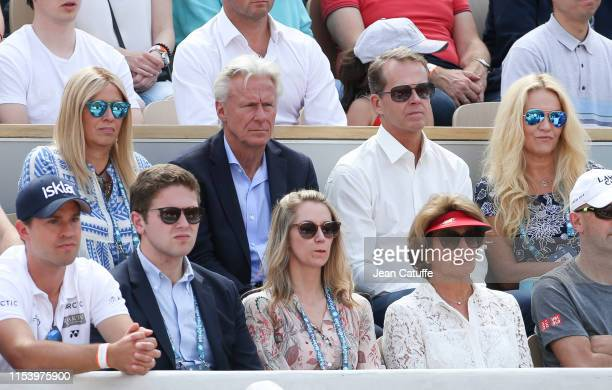 Bjorn Borg and his wife Patricia Ostfeldt Stefan Edberg and his wife Annette Edberg attend day 6 of the 2019 French Open at Roland Garros stadium on...